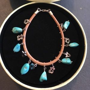 TOUS silver turquoise leather bracelet preowned